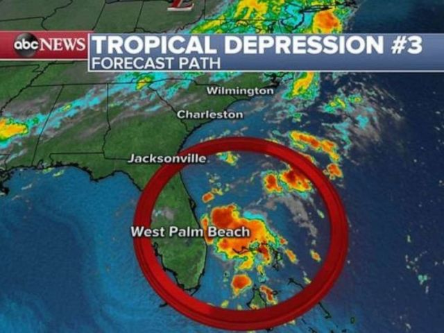 PHOTO: Tropical depression No. 3 is lingering off the eastern coast of Florida on Tuesday morning.