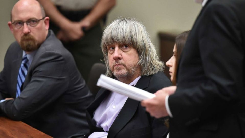 David Allen Turpin appears in court for arraignment with attorneys on Jan. 18, 2018 in Riverside, Calif.