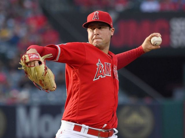 PHOTO: Tyler Skaggs #45 of the Los Angeles Angels pitches in the first inning of the game against the Oakland Athletics at Angel Stadium of Anaheim, June 29, 2019, in Anaheim, Calif.