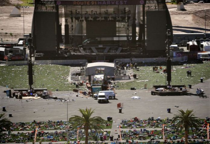 PHOTO: Debris is strewn through the scene of a mass shooting at a music festival near the Mandalay Bay resort and casino on the Las Vegas Strip, Oct. 2, 2017, in Las Vegas.