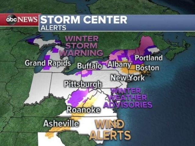Winter storm warnings and advisories or wind alerts are blanketing more than a dozen states this morning.