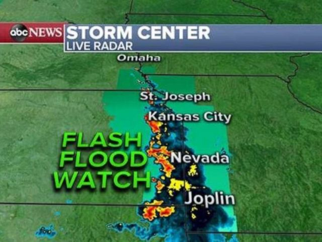 PHOTO: A flash flood watch has been issued Thursday in the Midwest.