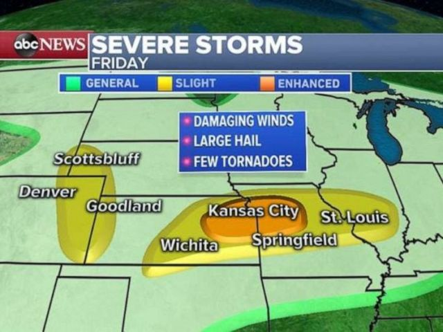 PHOTO: Storms are likely to cover most of the heartland on Friday.