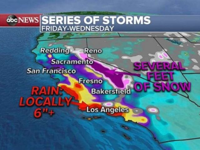 PHOTO: As much or more than 6 inches of rain could fall along the coast in Southern California over the next five days.