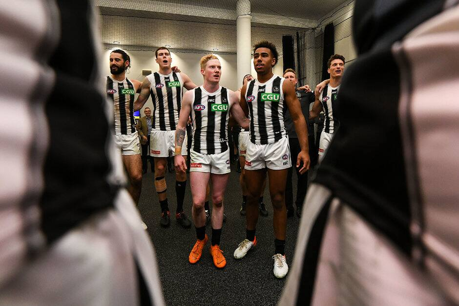 John Noble and Isaac Quaynor belt out the theme song after the Pies' win over West Coast in round 17. All pictures: AFL Photos - AFL,News,Update,Game,Collingwood Magpies,Isaac Quaynor,John Noble,Contracts