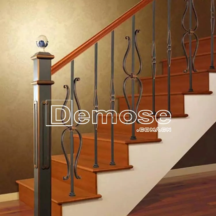 3 Steps Stair Handrail Black Industrial Wrought Iron Stair Railing   Iron Stair Railing Indoor   Interior Wrought   Wood   Cast Iron Balusters   Rod Iron   Railing Kits