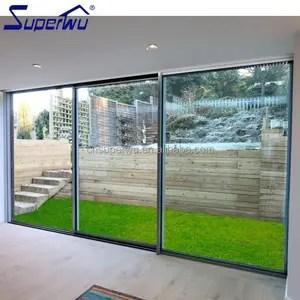 polvo de viento puerta corredera de aluminio y vidrio de 3 vias utilizada en el hogar