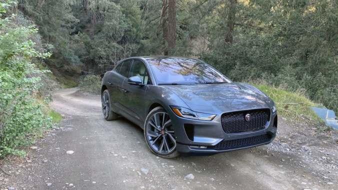Jaguar I-PACE on a dirt trail