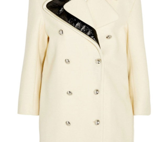 Bouchra Jarrar Faux Patent Leather Trimmed Wool Coat