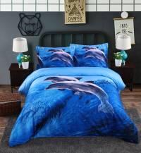 Blue Dolphins Reactive Printing 4-Piece Cotton Duvet Cover ...