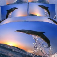 New Jumping Dolphin with Sunrise Print 4 Piece Bedding ...