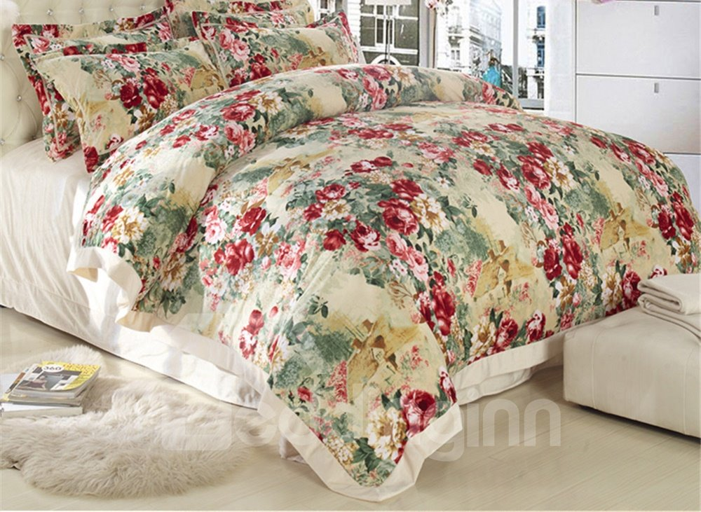 Country Style Flower Print Sandedcloth Material 4 Piece