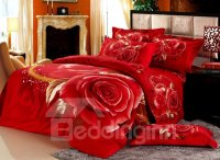 Fantastic Bright Red with Rose Print 4 Piece Bedding Sets ...