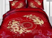 Dragon Print 4 Piece Cotton Wedding Bedding Sets ...