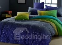Lovely Starry Sky Print Comfortable Kintting Bedding Sets ...