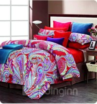 Colorful Phoenix Feathers Print 4 Piece Cotton Bedding