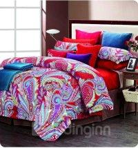 Colorful Phoenix Feathers Print 4 Piece Cotton Bedding ...