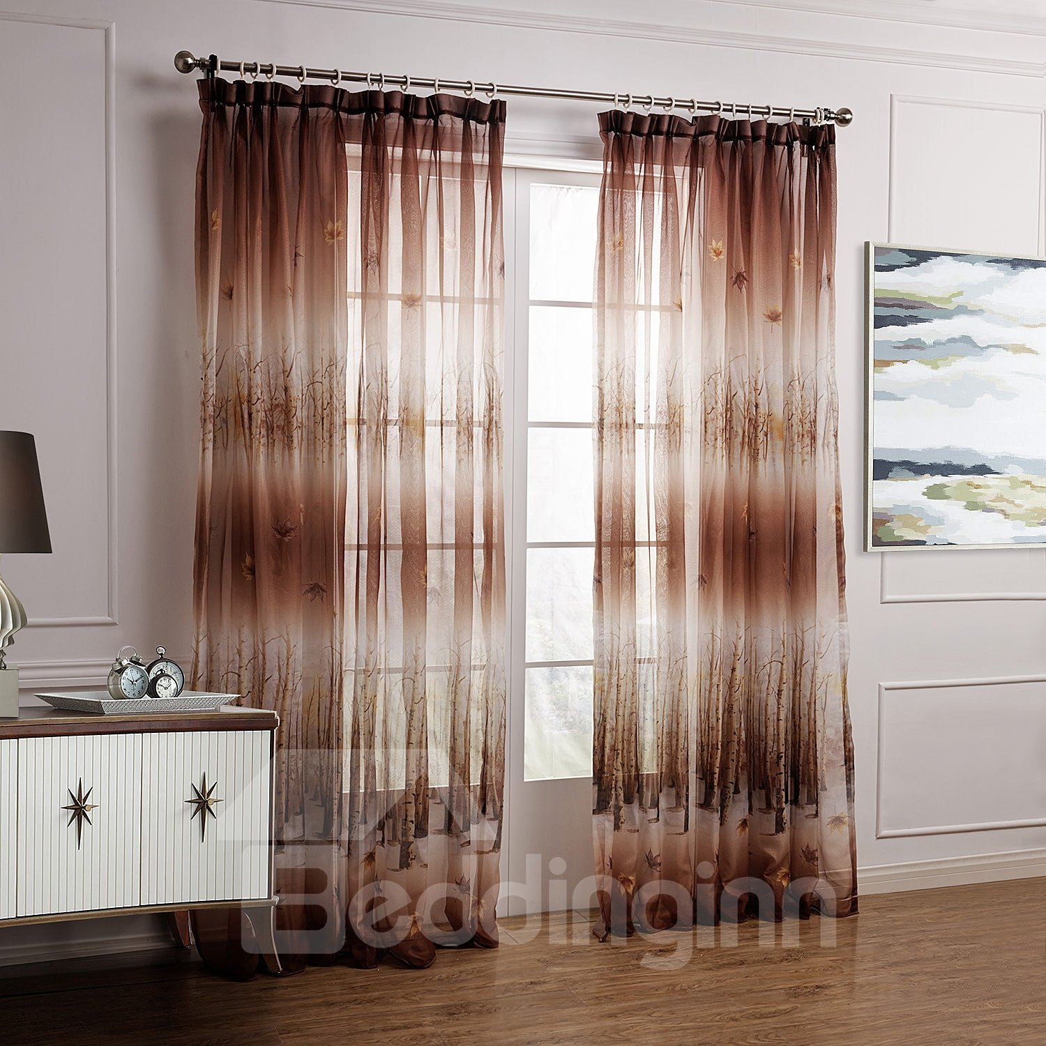 Fantastic Brown Leaves And Forest Printing Custom Sheer Curtain