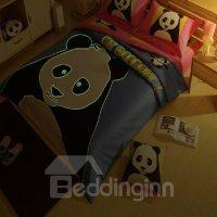 Novel Luminous Baby Panda Print 4-Piece Cotton Duvet Cover ...