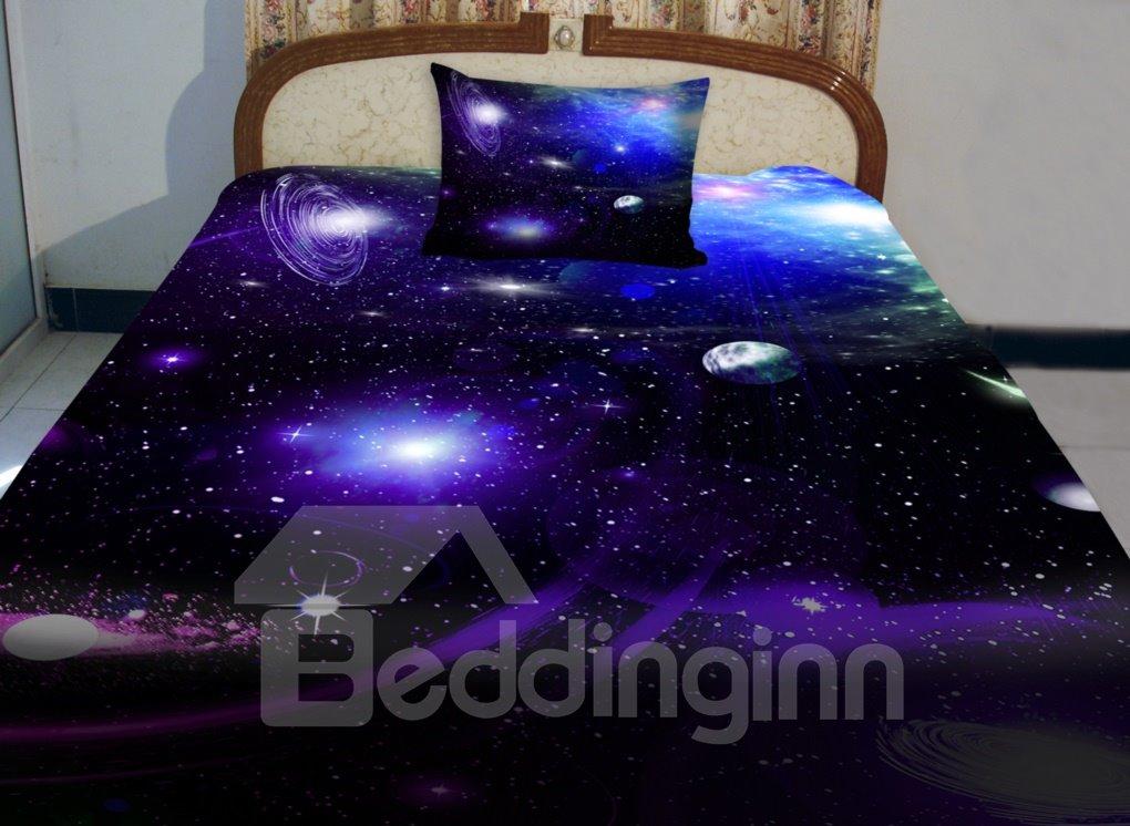 Wonderful Galaxy and Blue Shining Star Print 4Piece Duvet