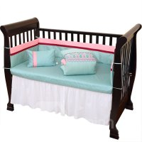 Pink and Green Flowers Stripe Pattern 10 Piece Crib ...