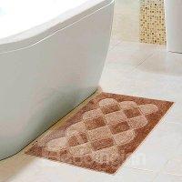 Fancy Plush Geometric Figure Coffee Bath Rug - beddinginn.com