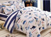 Skincare Dolphin and Little Fish Print 4-Piece Cotton ...
