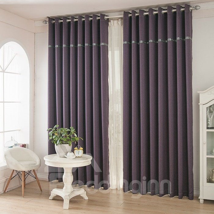 Deep Purple Color Thickening Blackout Grommet Top Curtain  beddinginncom