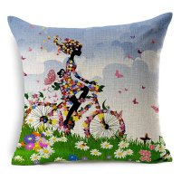 The Girl Riding a Bike Printing Throw Pillow - beddinginn.com