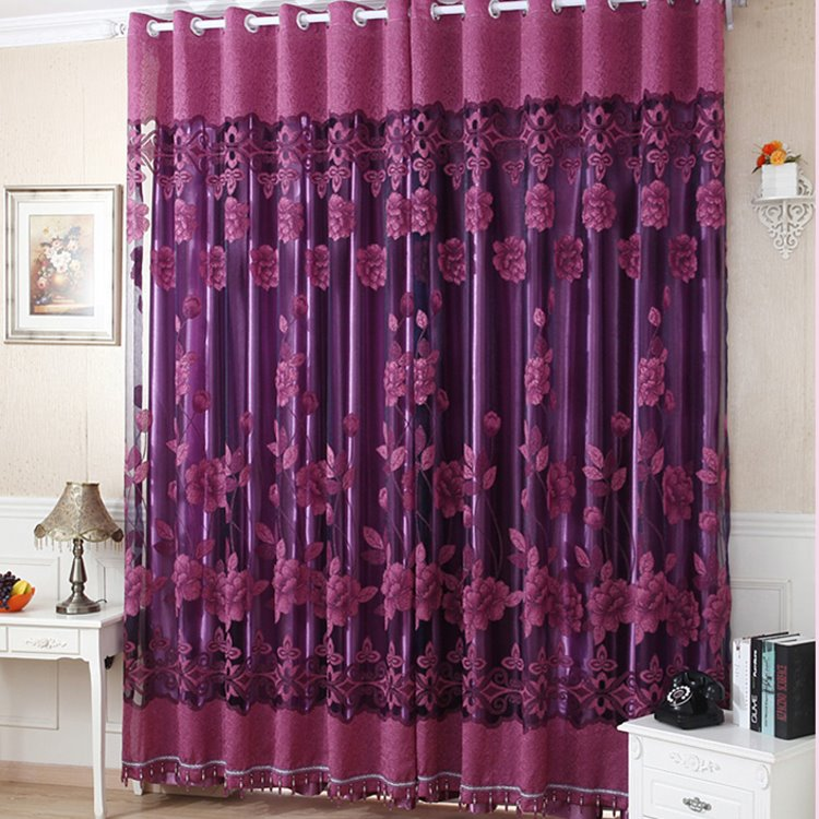 Amazing Deep Purple Floral Printing Sheer  Shading Cloth Curtain Set  beddinginncom