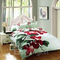Bright Red Flower Print 4-Piece Cotton Duvet Cover Sets ...