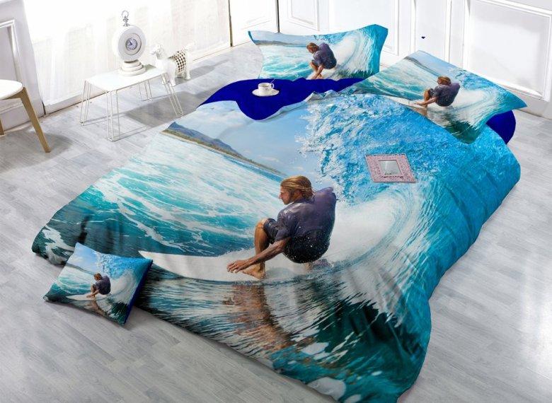 Desert Cool Surfing Digital Print 4-Piece Cotton Duvet Cover Set