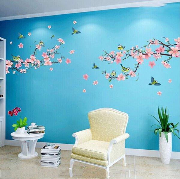 Wonderful Blossom Peach Flowers Living Room Staircase TV