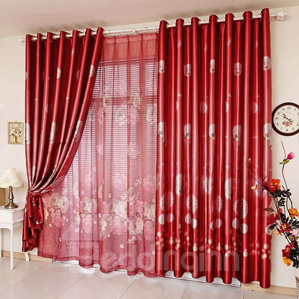 Bright Red Dandelion Print Blackout Grommet Top Curtain