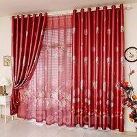 Bright Red Dandelion Print Blackout Grommet Top Curtain