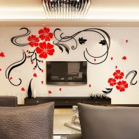 Gorgeous Floral and Butterfly Pattern Living Room 3D Wall ...