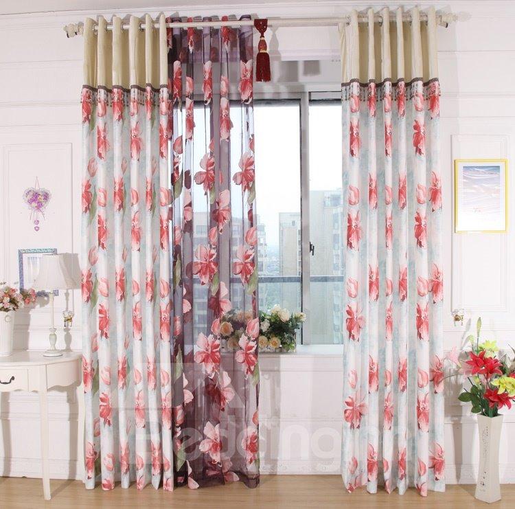 Gorgeous Red Flower Print Grommet Top Curtain Amp Sheer Set