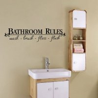 Funny Words and Quotes Bathroom Rules Removable Wall ...