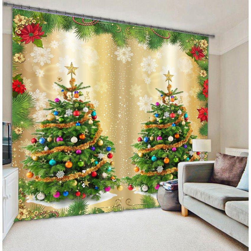 Christmas Trees Print 3D Home Decor Curtain