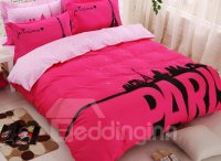 Glamorous Paris Print Cotton 4-Piece Duvet Cover Set ...