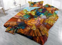 Faddish Abstract Design Satin Drill 4-Piece Duvet Cover ...