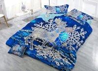 Reindeer Snowflake Print Blue 4-Piece Christmas Duvet ...