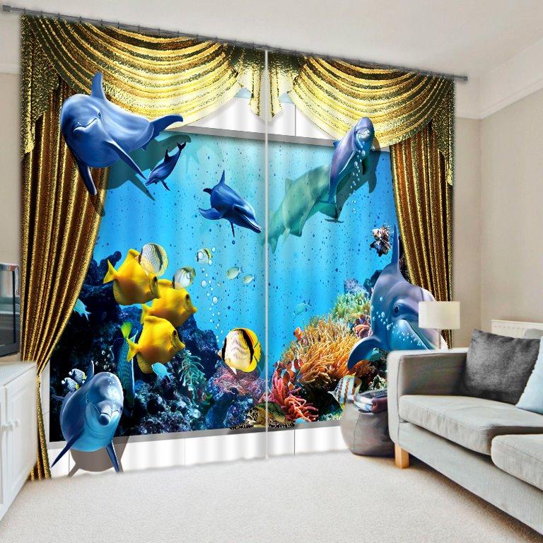 Lifelike 3D Under Sea World Polyester Curtain  beddinginncom