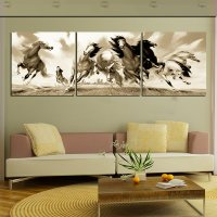 Classical Vintage Galloping Horses Canvas 3-Panel Wall Art ...