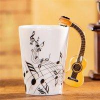 Creative Musical Theme Guitar Design Handle Ceramic Coffee ...