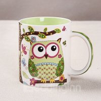 Cute Cartoon Owl Pattern Ceramic Coffee Mug - beddinginn.com