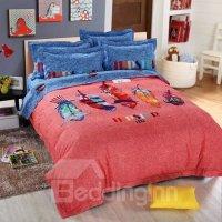 Colorful Feathers Print 4-Piece Cotton Duvet Cover Sets ...