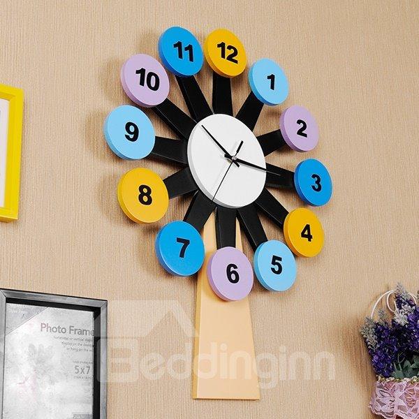 Creative Colorful Windmill Design Kidsroom Wall Clock