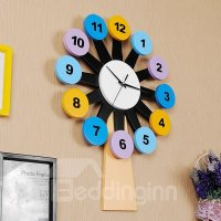 Creative Colorful Windmill Design Kidsroom Wall Clock ...