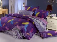 Vintage Purple Colorful Feather Pattern Purified Cotton 3 ...